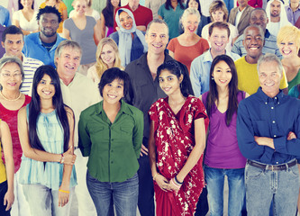 Large group of Multiethnic people Diversity Concept