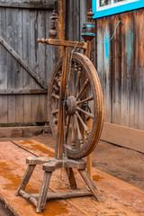 Old spinning wheel. vintage
