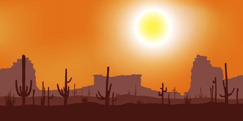 Sunset with Saguaro Cactus. Desert. Vector background.
