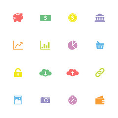 colorful simple flat icon set 4 - for web design, user interface (ui), infographic and mobile application