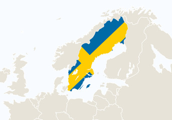 Europe with highlighted Sweden map.