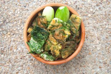 Thai Cuisine; cha-om omelet