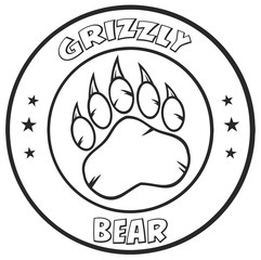 Black And White Bear Paw With Claws Circle Logo Design