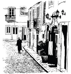 Typical district of Alfama in Lisbon - 102288043