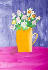 """Детский рисунок """"Натюрморт с цветами"""""""