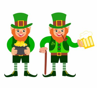 St.Patrick 's Day. gnome with a pipe and a glass of beer