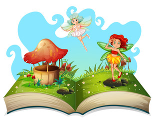 Book of fairies flying in the garden
