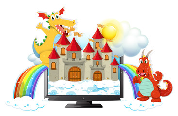Dragons and castle on computer screen