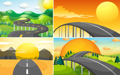Four scenes of road to the countryside