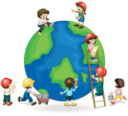 Children fixing and painting the globe
