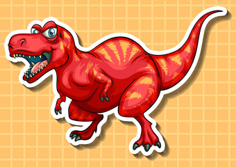Red dinosaur with sharp teeth