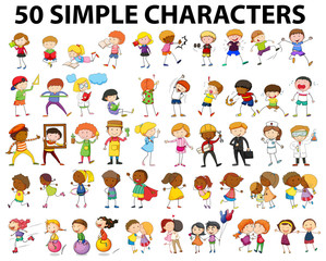 Fifty simple character doing different activities