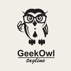 monochrome icon with geek owl in glasses