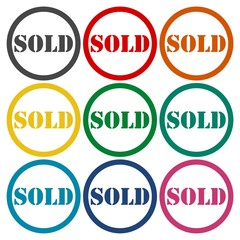 Sold circle icons set