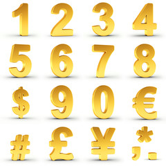 Set of golden numbers and currency symbols over white background with clipping path for each item for fast and accurate isolation.