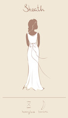 Wedding dress in sheath style