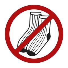 Stop sign. Doodle socks icon for web design. Handdrawn symbol of footwear. Vector llustration