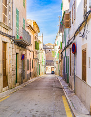 Wall Mural - Mediterranean street with rustic old buildings