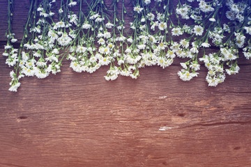 white flowers on vintage wooden background with space
