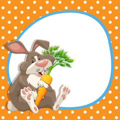 Border design with rabbit and carrot