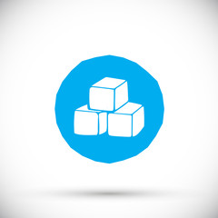 Blue cube logo design icon, vector illustration. Hand drawn