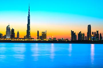 Dubai skyline at dusk