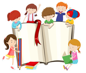 Blank book and children
