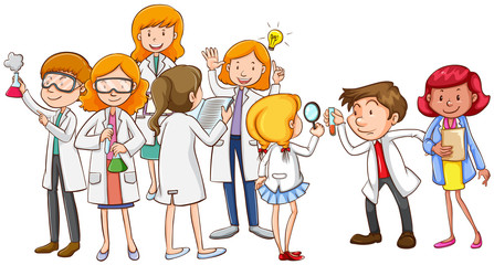 Scientists and teacher together