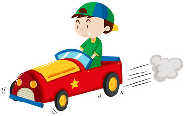 Boy riding red car