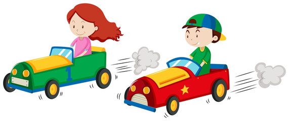 Boy and girl in racing car