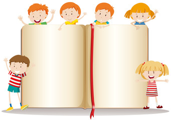 Book design with happy children
