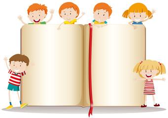 Book design with happy children