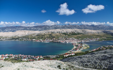 View of the Pag village in Croatia