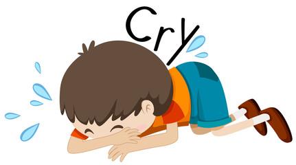Sad boy crying alone