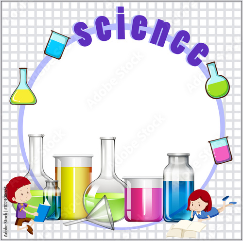 Quot Border Design With Children And Science Equipments Quot Stock