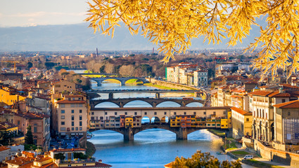 Aluminium Prints Florence Sunset view of Ponte Vecchio, Florence.