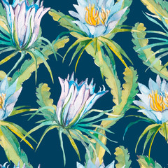 Tropical seamless pattern. Exotic leaves and flowers. Vector.Dragonfruit, pitaya,pitahaya. Flowers pitaya.