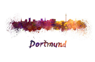 Wall Mural - Dortmund skyline in watercolor