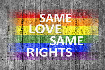 Same Love Same Rights and LGBT flag painted on background textur