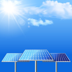 Realistic vector illustration of solar batteries on cloudscape b