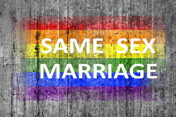 Same sex marriage and LGBT flag painted on background texture gr