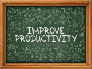 Improve Productivity - Hand Drawn on Chalkboard. Improve Productivity with Doodle Icons Around. 3d Render.