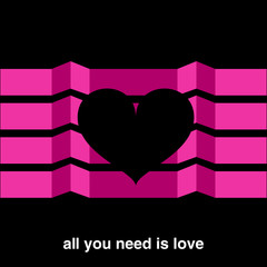 Minimal design valentine's day vector greeting card with black heart on fuchsia folding screen