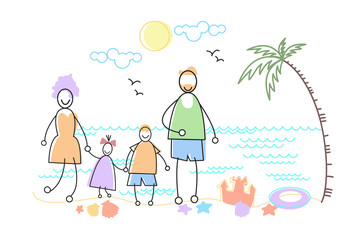 Big Family Holiday Sea Seaside Stand Beach Parents With Two Children Vector Illustration