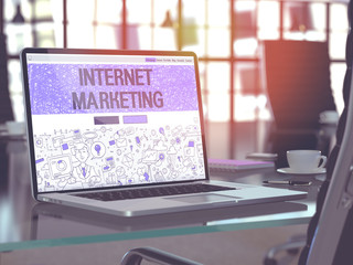 Internet Marketing Concept. Closeup Landing Page on Laptop Screen in Doodle Design Style. On Background of Comfortable Working Place in Modern Office. Blurred, Toned Image. 3D Render.