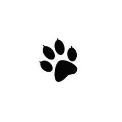 The imprint of black animal paw prints. Web icon, color paw dog. Paw print pet. Print on a white background.