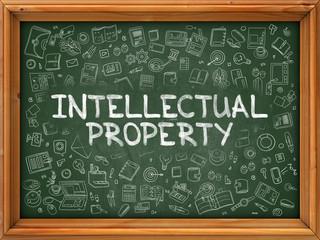 Intellectual Property - Hand Drawn on Chalkboard. Intellectual Property with Doodle Icons Around. 3d Render.