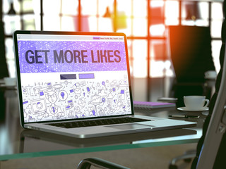 Get More Likes - Closeup Landing Page in Doodle Design Style on Laptop Screen. On Background of Comfortable Working Place in Modern Office. Toned, Blurred Image.  3D Render.