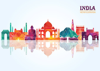 India skyline detailed silhouette. Vector illustration Fotomurales