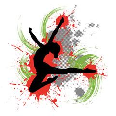 Tänzerin vor buntem Hintergrund mit Farbspritzern